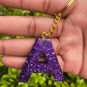 Purple Disco Initial Keychain